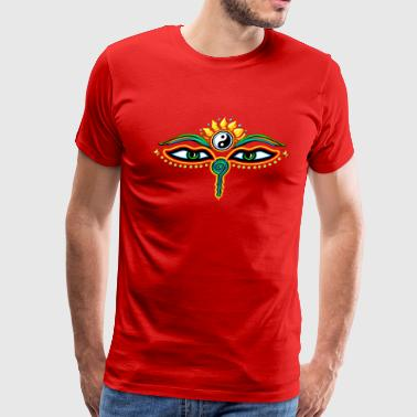 Eyes Of Buddha Buddha Eyes Lotus, Yin Yang, wisdom, enlightenment - Men's Premium T-Shirt