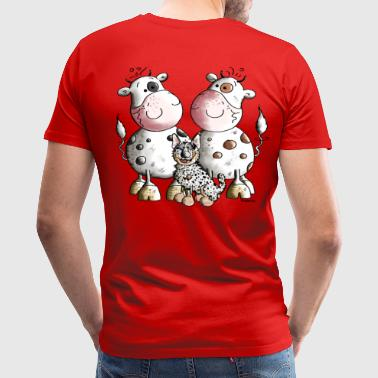 Australian Cattle Dog And Cows - Men's Premium T-Shirt