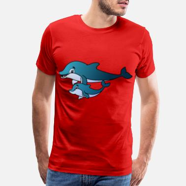 Saltwater Dolphin mother child - Men's Premium T-Shirt