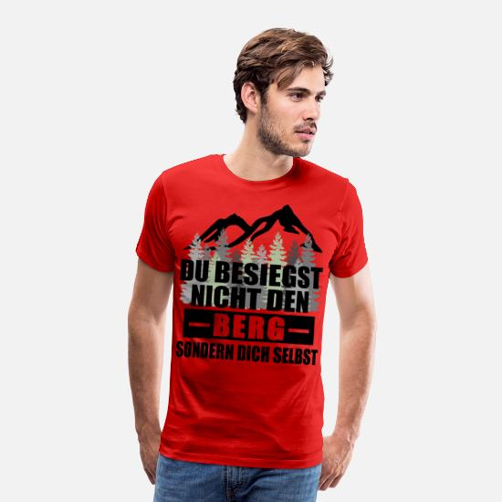 Rocky Mountains T-Shirts - Defeat the Mountain Forest Hiking Gift Idea Tree - Men's Premium T-Shirt red