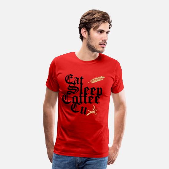 Feather T-Shirts - eat sleep coffee cut with comb scissors + feather - Men's Premium T-Shirt red