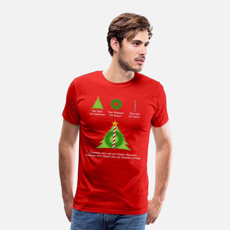 Christmas T-Shirts - Harry Potter and the Merry Hallows White Text Ed - Men's Premium T-Shirt red