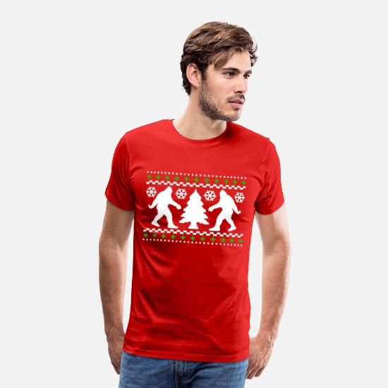Christmas T-Shirts - Ugly Holiday Bigfoot Christmas Sweater - Men's Premium T-Shirt red