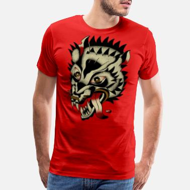 American Traditional Tattoo Wolf - Men's Premium T-Shirt