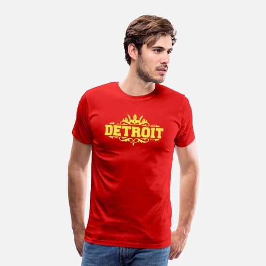 Detroit T-Shirts - DETROIT michigan usa down with detroit - Men's Premium T-Shirt red