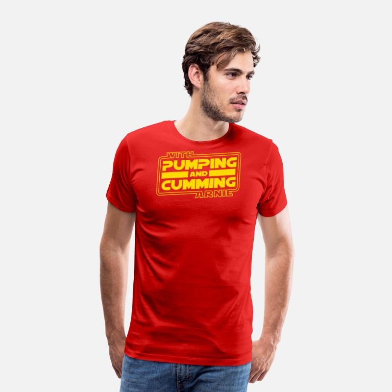 Schwarzenegger T-Shirts - Pumping and Cumming with Arnold! - Men's Premium T-Shirt red