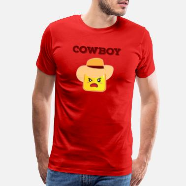 Angry Emoticon Cowboy Funny Angular Emoticon Funny Hat Gift - Men's Premium T-Shirt