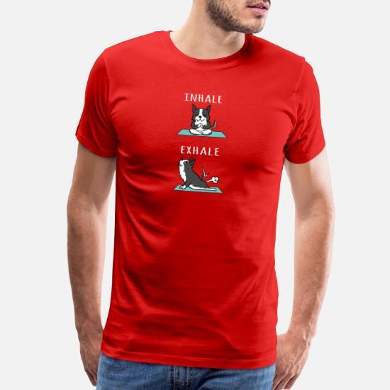 8b6b7ce7c8 Border Collie Yoga Inhale Exhale - Men's Premium T-Shirt. Back. Back.  Design. Front