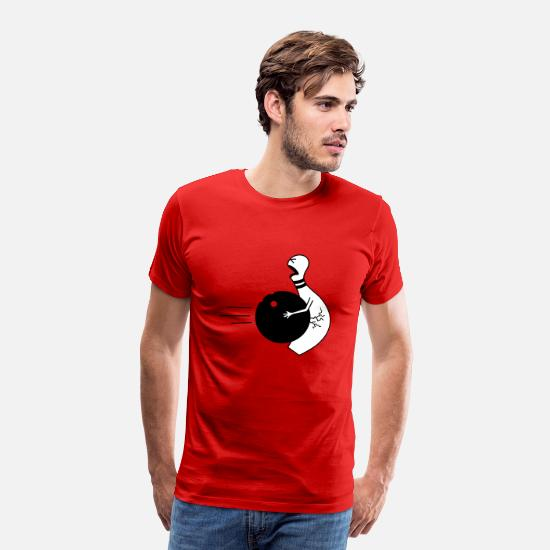 Bowling T-Shirts - bowling ball in the nuts - Men's Premium T-Shirt red