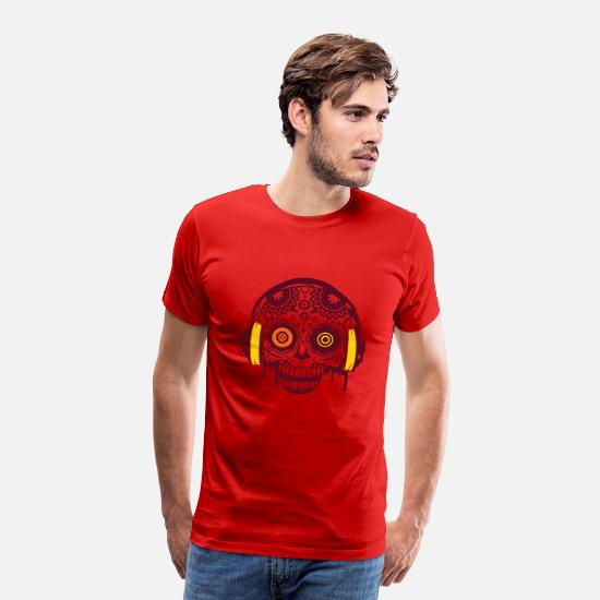 Headphones T-Shirts - A Sugar Skull with headphones  - Men's Premium T-Shirt red