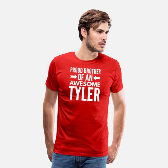 Birthday Present T-Shirts - Proud brother of an awesome Tyler - Men's Premium T-Shirt red