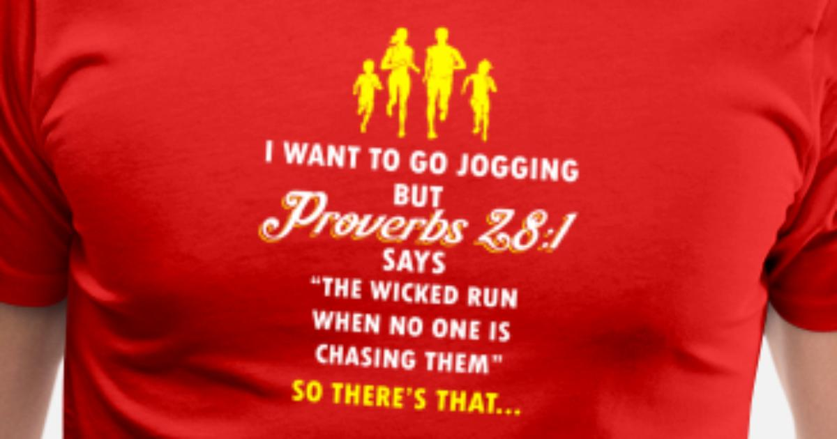 Funny Jogging Proverbs Bible Verse T-shirt Men's Premium T ...