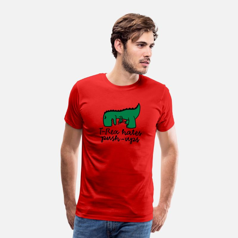 Funny T-Shirts - T-Rex hates push-ups - Men's Premium T-Shirt red
