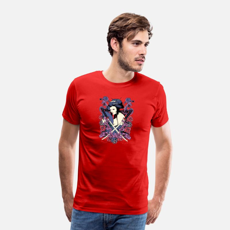 Dragon Head T-Shirts - nude japanese geisha with samurai swords - Men's Premium T-Shirt red