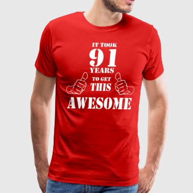 91st Birthday Get Awesome T Shirt Made in 1926 - Men's Premium T-Shirt