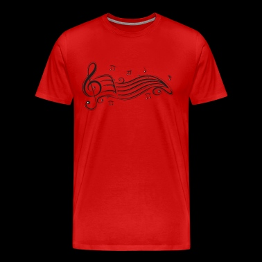 Clef with sheet music and music notes. - Men's Premium T-Shirt
