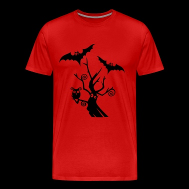 Halloween tree with bats and owl. - Men's Premium T-Shirt