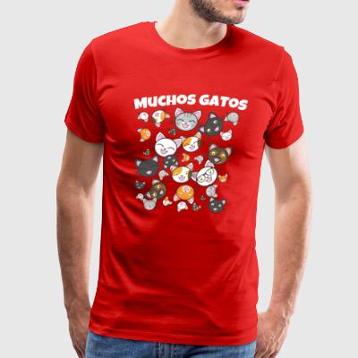 Muchos Gatos Funny Cat Face Shirt - Men's Premium T-Shirt