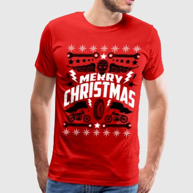 Motorcycle Merry Christmas Ugly Xmas Sweater Art - Men's Premium T-Shirt