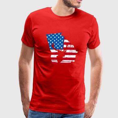 American Flag Georgia Deer Hunting Patriotic T-Shi - Men's Premium T-Shirt