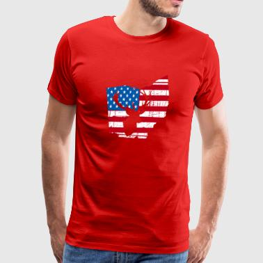 American Flag Ohio Deer Hunting Patriotic T-Shirt - Men's Premium T-Shirt