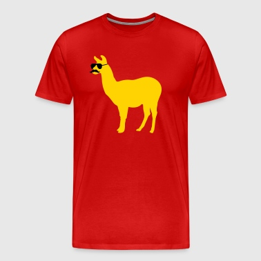 Funny llama with sunglasses and mustache - Men's Premium T-Shirt