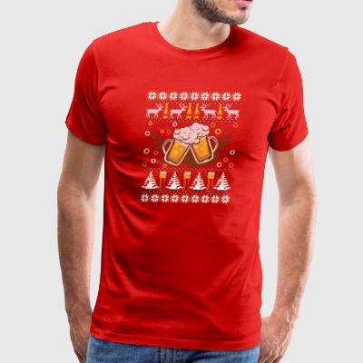 Beer Ugly Christmas Sweater Drinking T-Shirt - Men's Premium T-Shirt