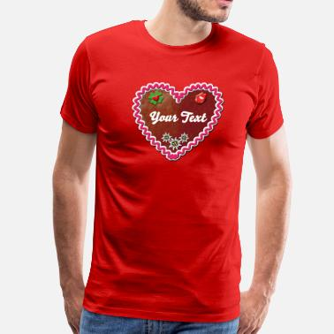 Boarisch Lebkuchen Gingerbread Kiss Edelweiss heart luck - Men's Premium T-Shirt