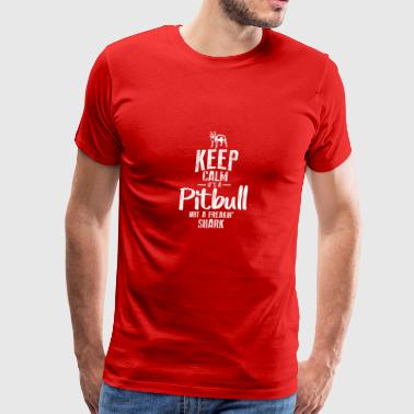 KEEP CALM IT S A PITBULL NOT FREAKIN SHARK - Men's Premium T-Shirt