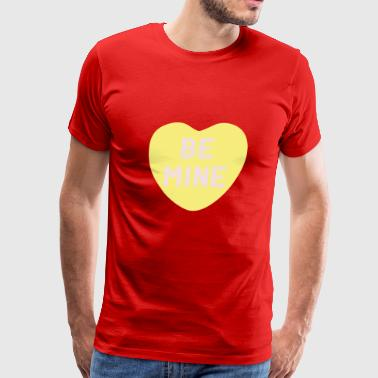 Be Mine Yellow Candy Heart - Men's Premium T-Shirt