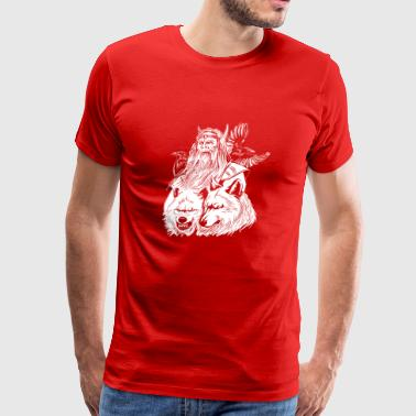 odin with wolves and ravens - Men's Premium T-Shirt