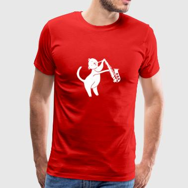 saxophone - cat playing saxophone - Men's Premium T-Shirt