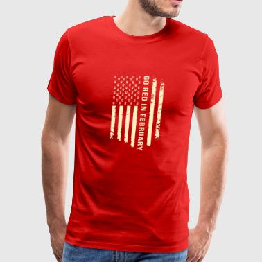 Heart Disease Awareness Month USA Flag Shirt - Men's Premium T-Shirt
