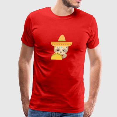 Mexican Fiesta Sloth with Taco and Sombrero - Men's Premium T-Shirt