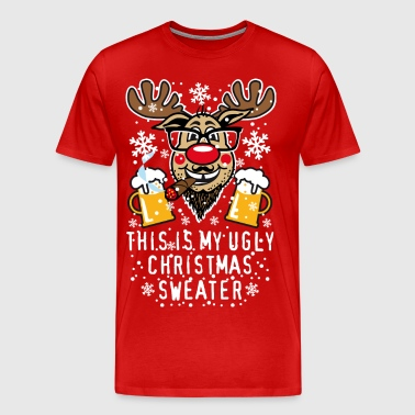 89 Reindeer Rudolph This My Ugly Christmas Sweater - Men's Premium T-Shirt