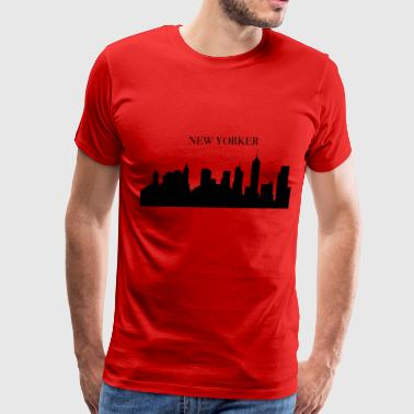 New Yorker and building in USA - Men's Premium T-Shirt