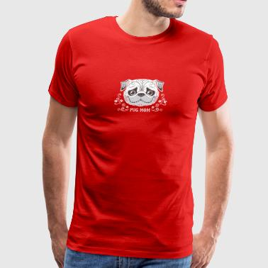 Pug Mom Sugar Skull - Men's Premium T-Shirt