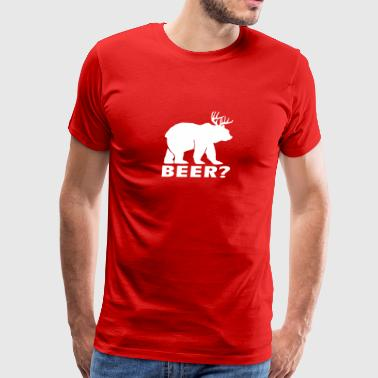 Beer Funny Deer Bear Humor Joke - Men's Premium T-Shirt