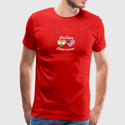 Indian American Flag Hearts - Men's Premium T-Shirt