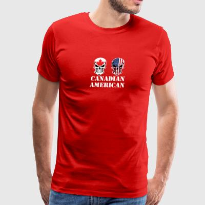 Canadian American Flag Skulls - Men's Premium T-Shirt