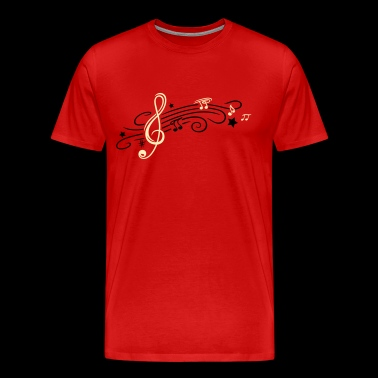 Music, clef with stars and music notes - Men's Premium T-Shirt