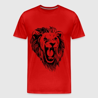 Lion - male face roaring - Men's Premium T-Shirt