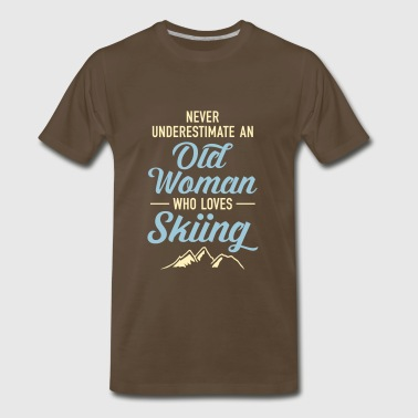 Never Underestimate An Old Woman Who Loves Skiing - Men's Premium T-Shirt