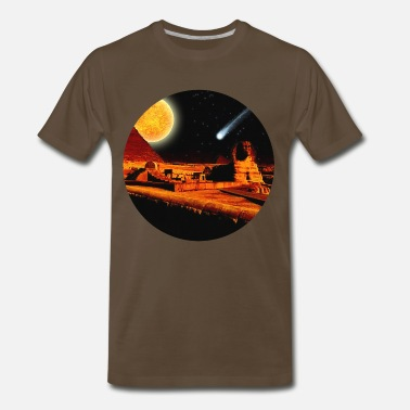 Cairo Egyptian Sphinx, Pyramid & Comet - Men's Premium T-Shirt