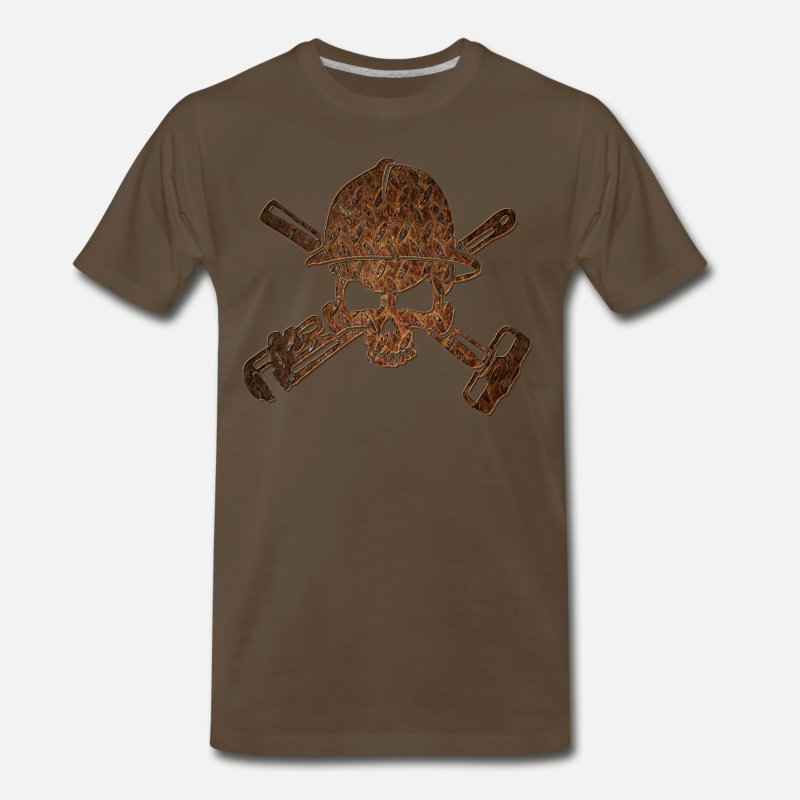 Oil T-Shirts - Rusty Oilfield Skull - Men's Premium T-Shirt noble brown