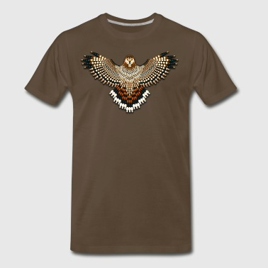 Seed Bead Beaded Red-Tailed Hawk - Men's Premium T-Shirt