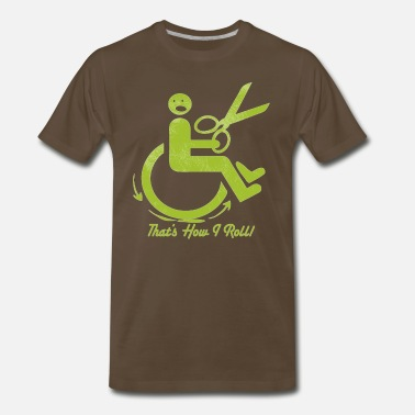 Running Scissors Wheel Chair and Scissors - Men's Premium T-Shirt