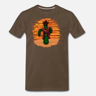 Desert cowboy cactus sunset - DIGITAL - Men's Premium T-Shirt