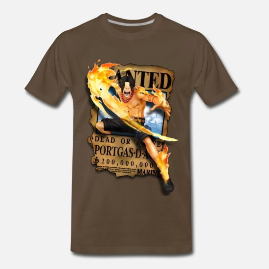Piece T-Shirts - Ace Wanted Poster - Men's Premium T-Shirt noble brown