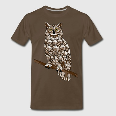 Geometric Great Horned Owl  - Men's Premium T-Shirt